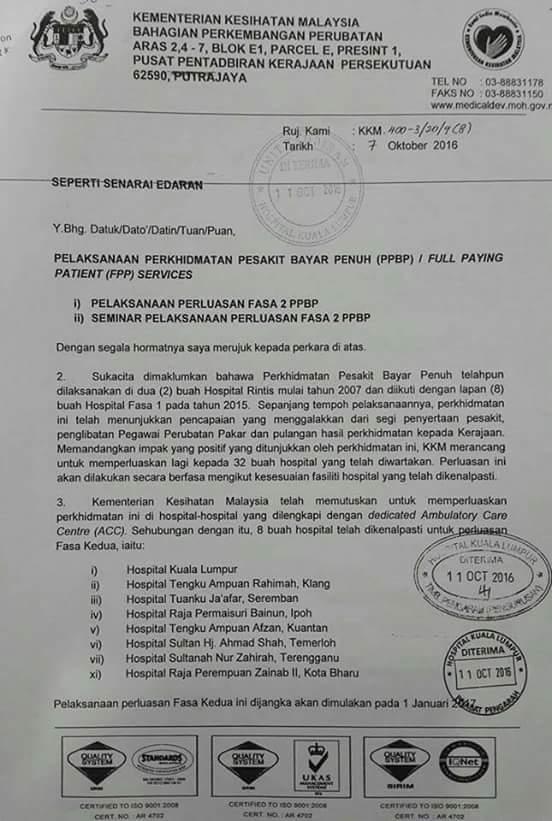 Baca & Fahami Mansuh Caj RM1 & Pesakit Perlu Full Paying Patient (FPP)