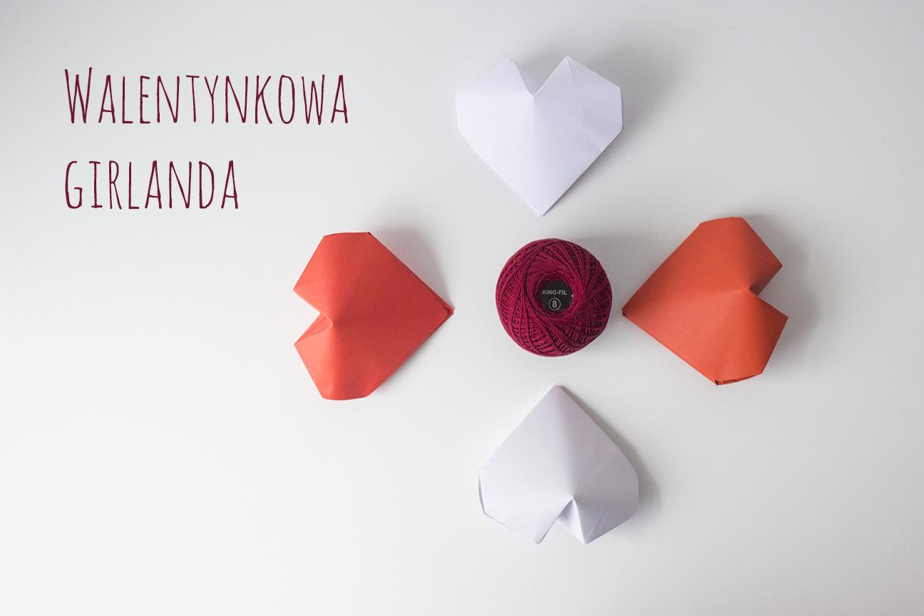 girlanda, serduszka, 3D, origami, walentynki