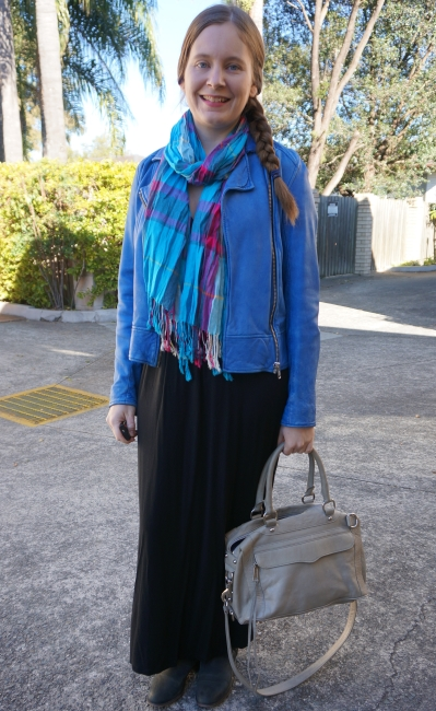 black maxi dress with cobalt blue leather jacket and tartan scarf for winter | away from the blue