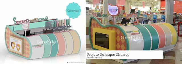Quiosque para shopping desenvolvido pela designer especialista em design comercial, Celine Aparecida Muller.