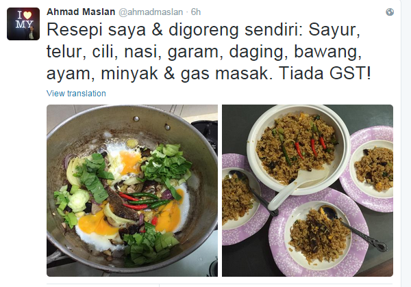 Nasi Goreng GST Ahmad Maslan