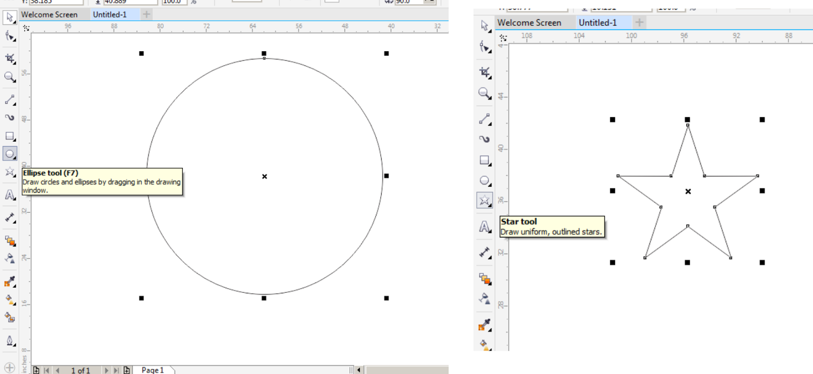 3 buat sebuah lingkaran dan bintang menggunakan Elipse Tool Dan Star Tool Seperti gambar di bawah ini