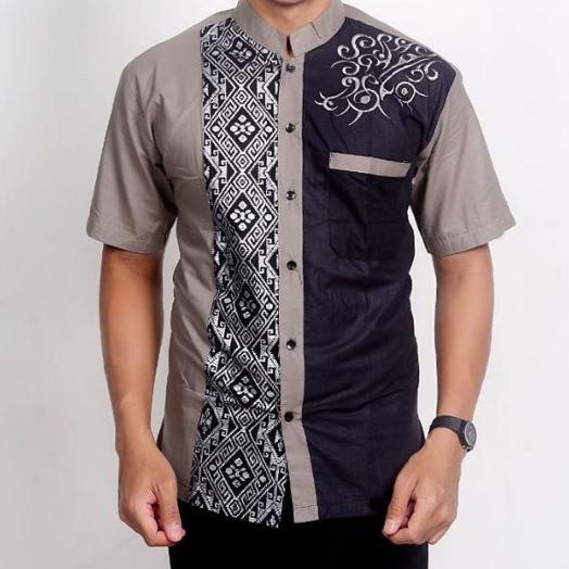 Model Baju Batik Pria Kombinasi Polos Modern 2019 Qibul Fashion