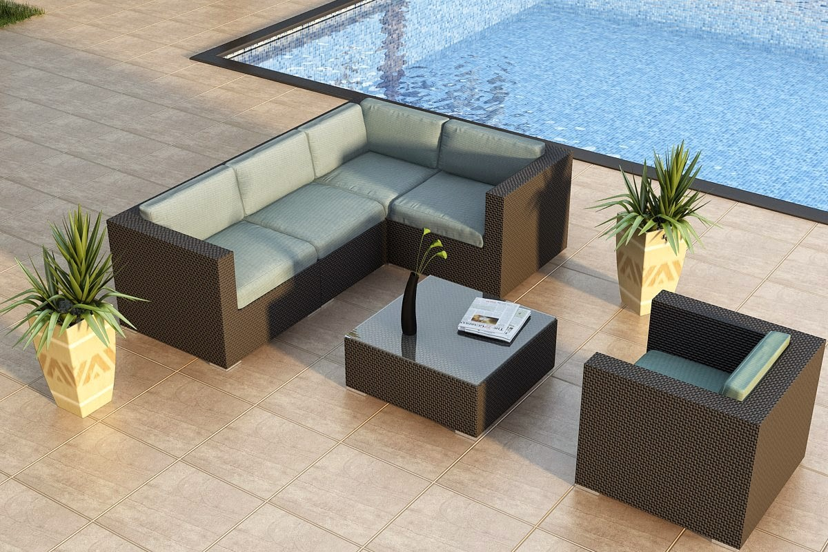 Piece Modern Patio Sofa Sectional Set with Turquoise Sunbrella Cushions