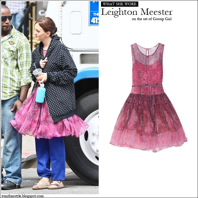 WHAT SHE WORE  Leighton Meester in pink animal print silk chiffon dress ~ I  want her style - What celebrities wore and where to buy it. Celebrity Style de1a55dcc
