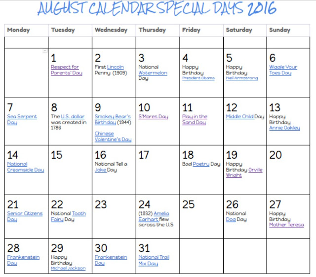 August 2018 Calendar of Special Days