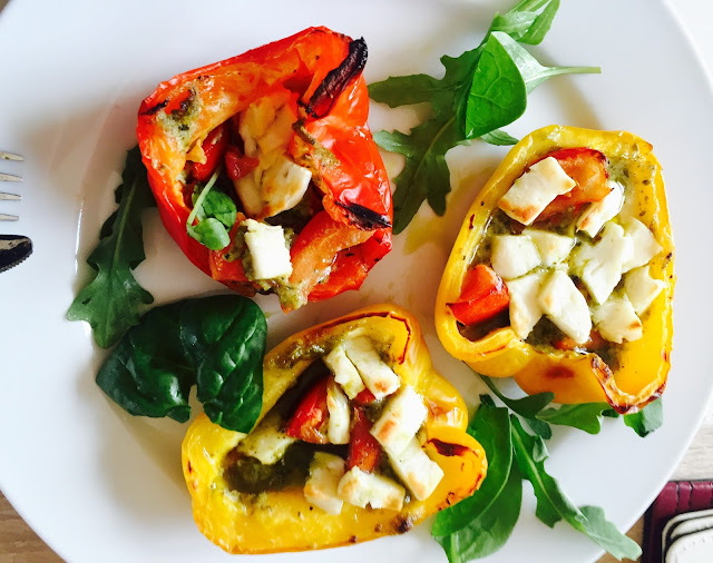 Grilled Halloumi & Pesto Stuffed Pepper
