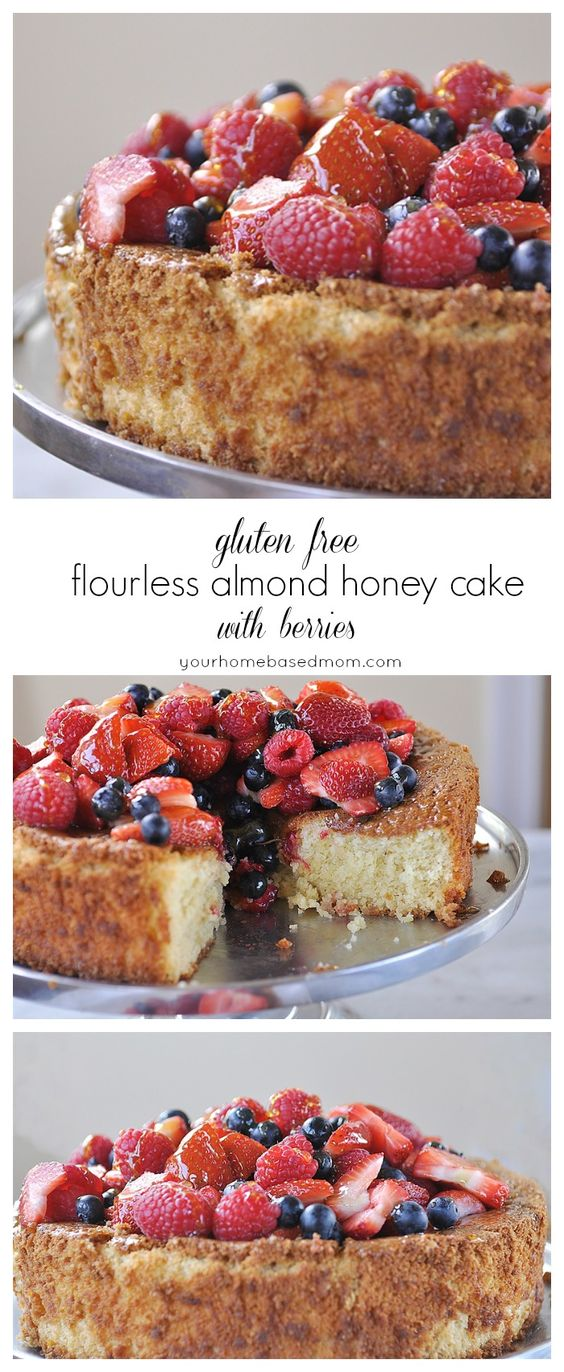 Gluten Free Flourless Almond Honey Cake with Berries #dessert #cake #berries