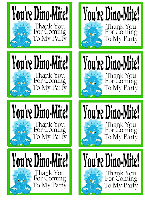 You're Dinomite Thank You Party Favor Tag