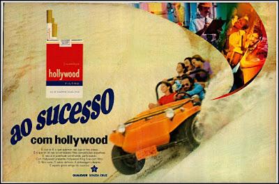 propaganda cigarros Hollywood 1972, anúncio cigarros anos 70, cigarros década de 70, Oswaldo Hernandez, Souza Cruz anos 70,