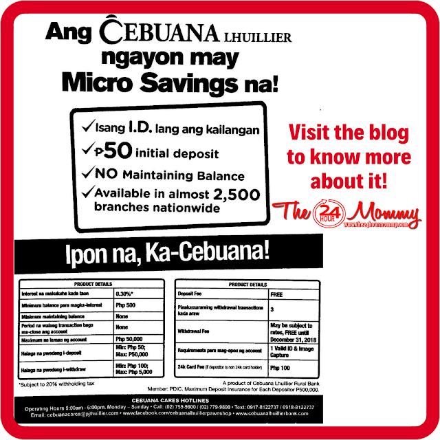 Cebuana Lhuillier micro savings requirements