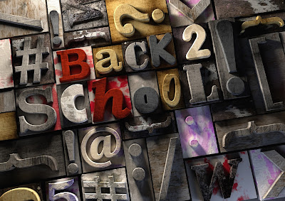 "montage of objects and letter blocks that spell out ""Back to School"""