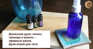домашние духи-спрей для тела лаванда, лимон и ваниль