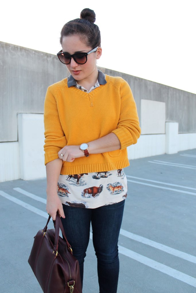 casual spring outfit: polo + sweater + skinny jeans