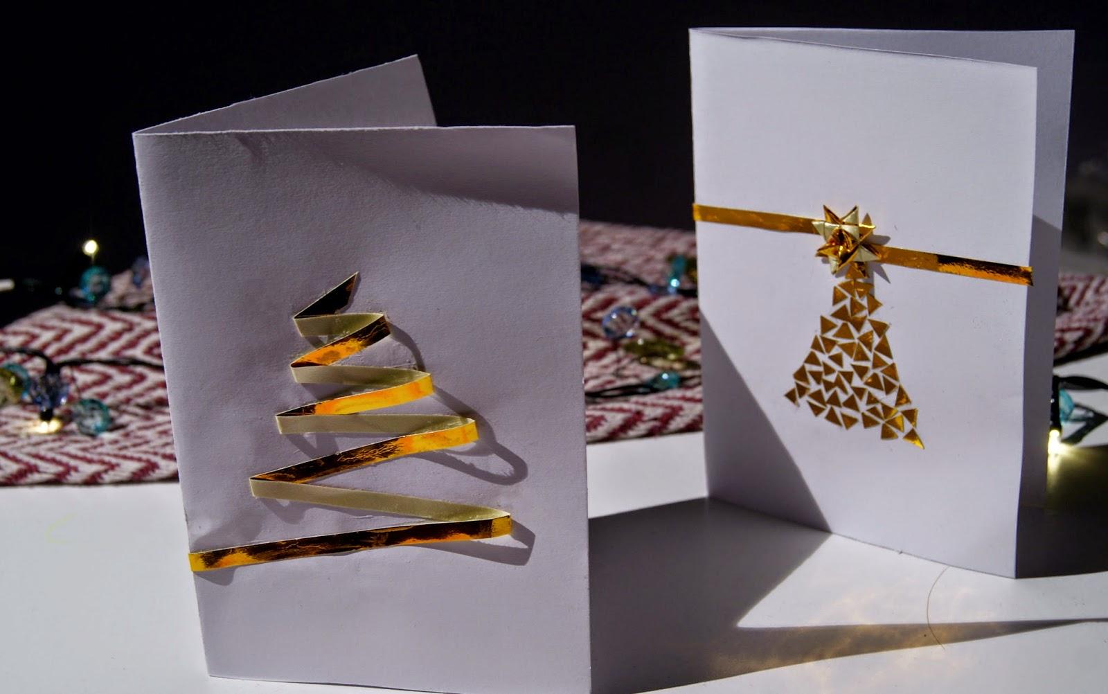 kartki świąteczne pomysły inspiracje diy tanie mozaika złota choinka