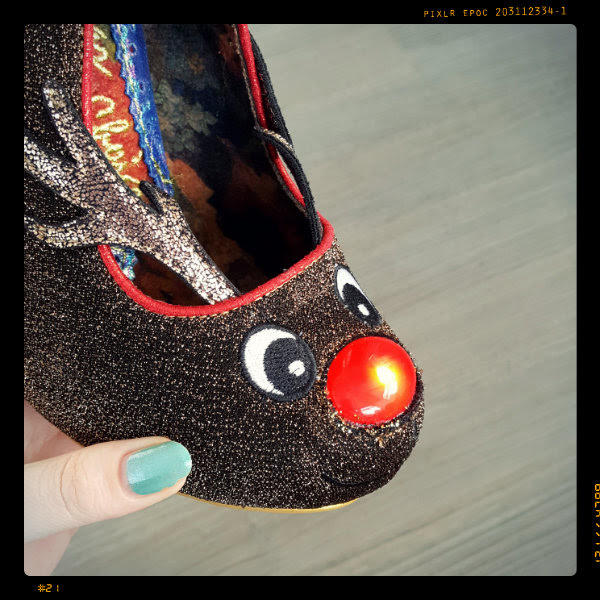 irregular choice santa's ninth rudolph nose glowing light detail