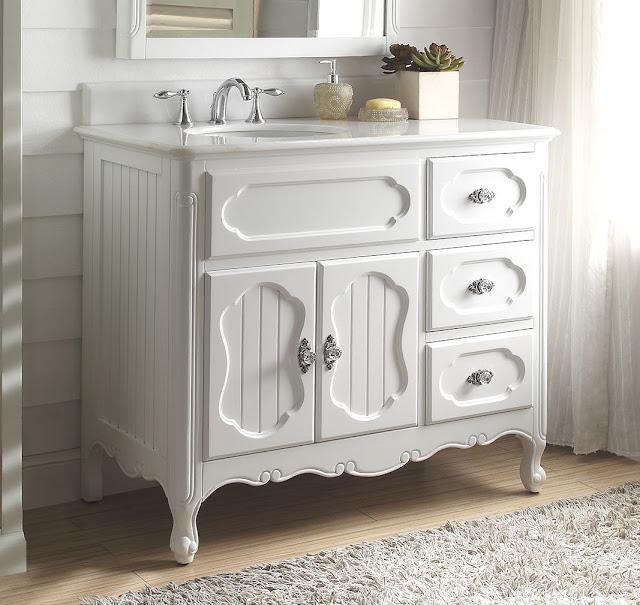 Adelina 42 inch Antique Cottage Bathroom Vanity White Finish
