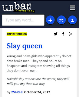 "Check out these seven (7) definitions of the word, ""SLAY QUEEN"" by Urban Dictionary"