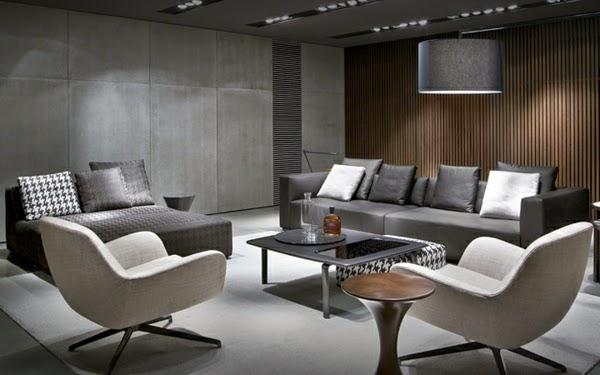 sala moderna en blanco y gris