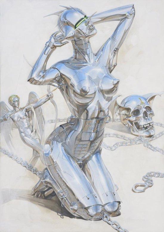 Hajime Sorayama ilustrações esculturas arte mulheres robôs metálicas sensuais cyberpunk vintage provocante peitos metalizados fetiche sadomasoquismo