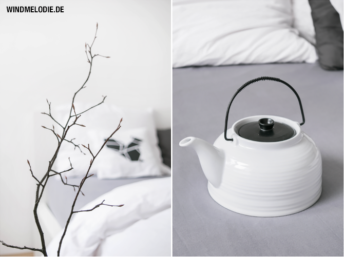 Ast Deko Skandinavisch Teekanne schwarz weiß