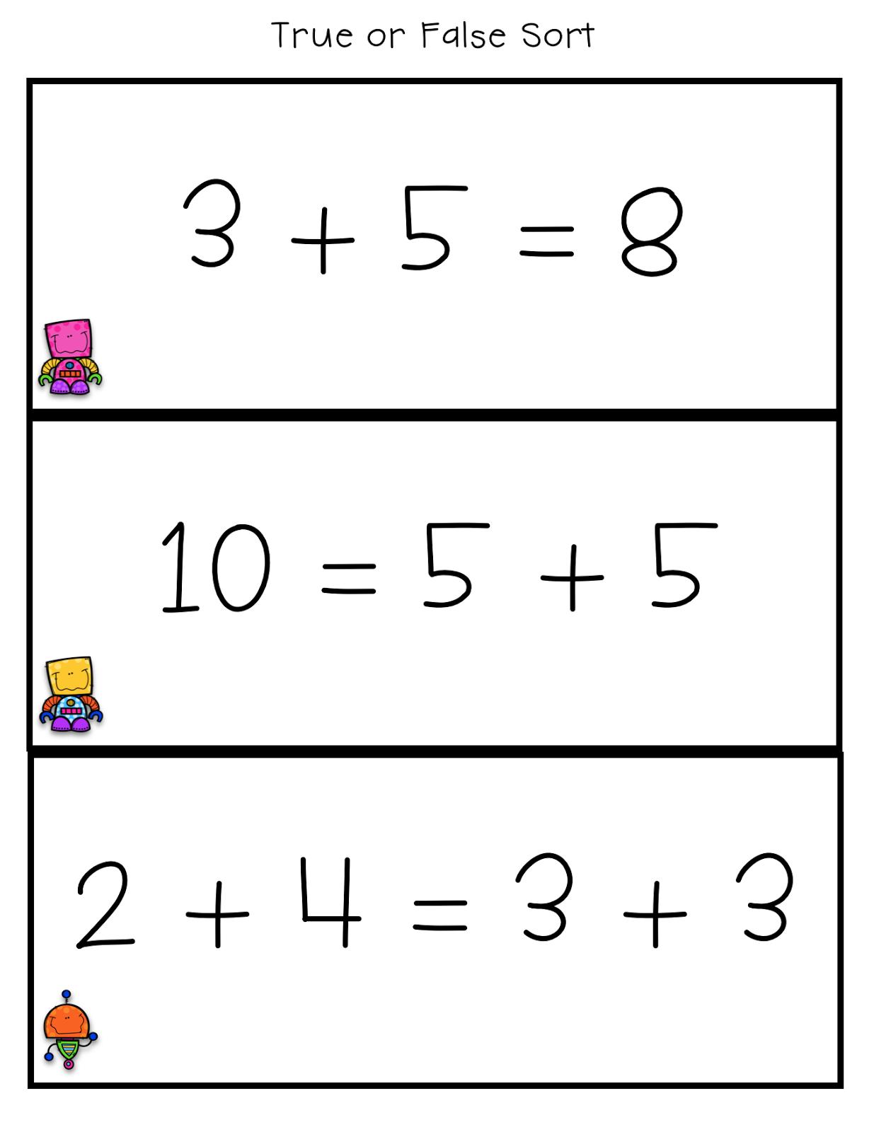 True False Number Sentences First Grade