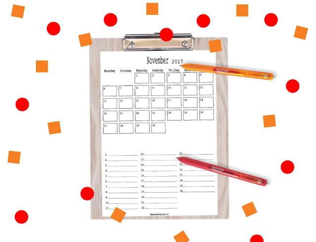 November 2017 kalender printen, kalender 2017, november 2017, 2017 november printen, gratis kalender, kalender gratis printen, print je kalender, kalenders voor kinderen, aftelkalender