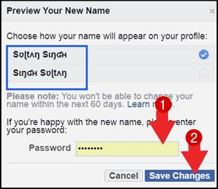 facebook profile name style
