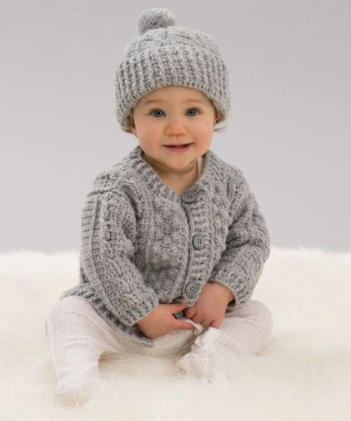 Aran Stitch Cardigan & Hat - Free Pattern