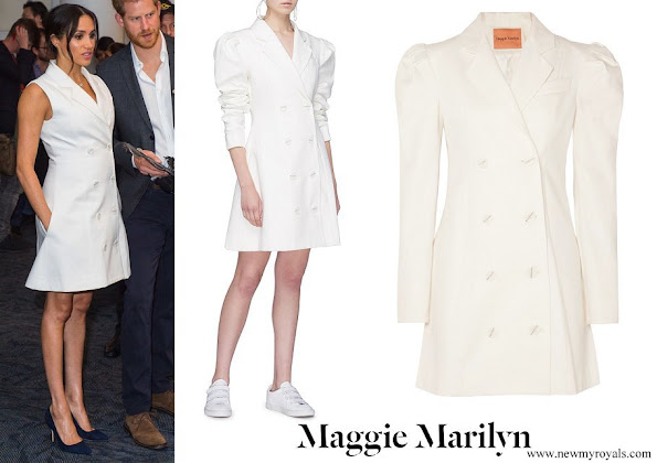 Meghan Markle wore Maggie Marilyn Leap of Faith Blazer Dress (sleeveless version)