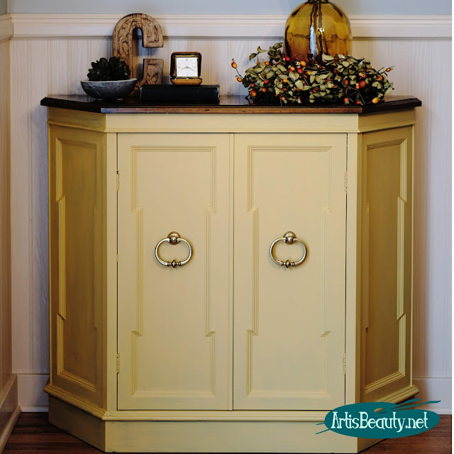 Somerset Gold Cabinet makeover using General finishes Milk paint artisbeauty.net