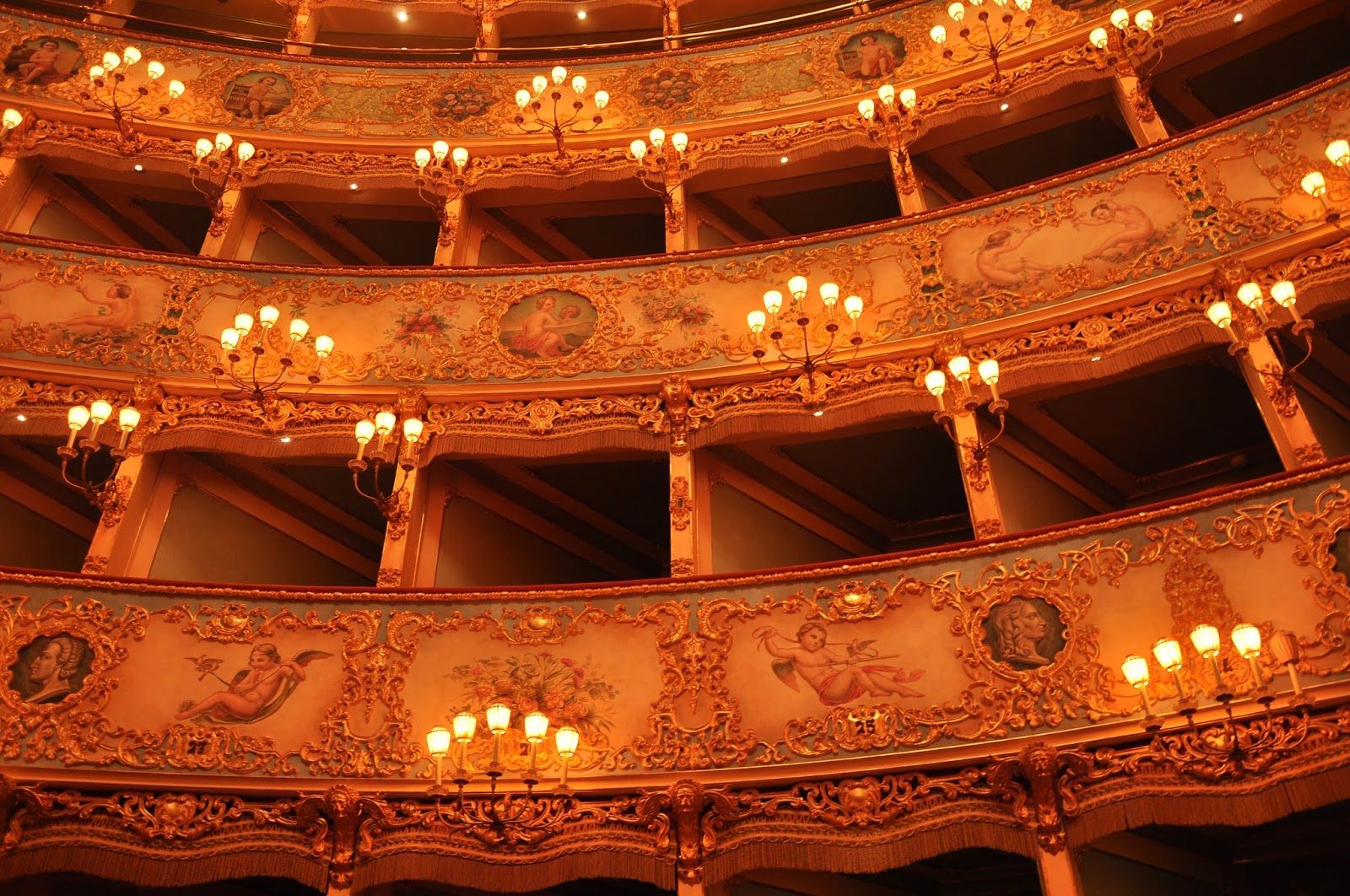 A close-up of the boxes, La Fenice, Venice, Italy