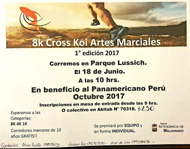 8k Cross Koi Artes marciales en parque Lussich (Maldonado, 18/jun/2017)