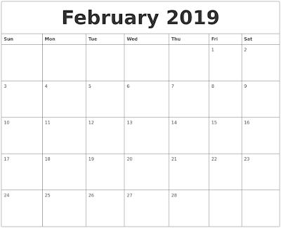 Februay 2019 Calendar