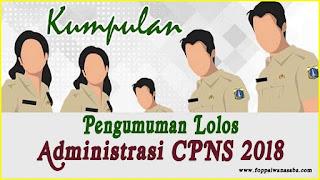 Kumpulan Hasil Pengumuman Seleksi Administrasi CPNS 2018