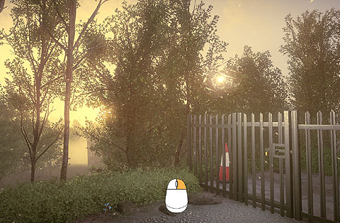 By a strong metal fence and gate, an orb floats in the air. The on-screen hint is to press the right-mouse-button.