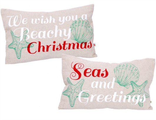 Beach Quote Christmas Pillows