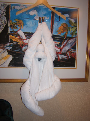 towel monkey hanging from a hanger