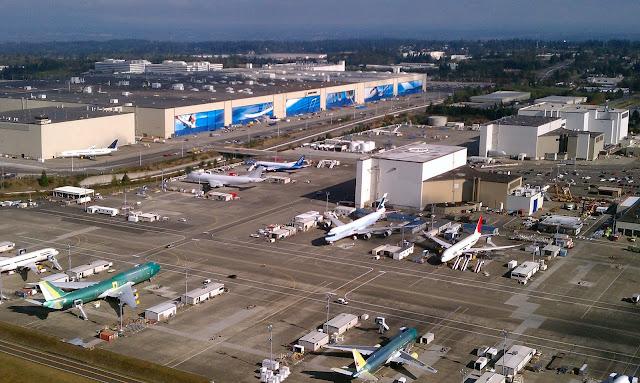 Pabrik Boeing dilihat dari atas