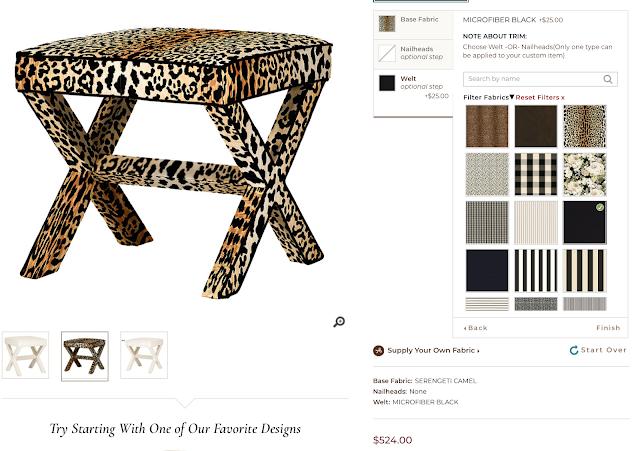 Leopard x-bench ottoman