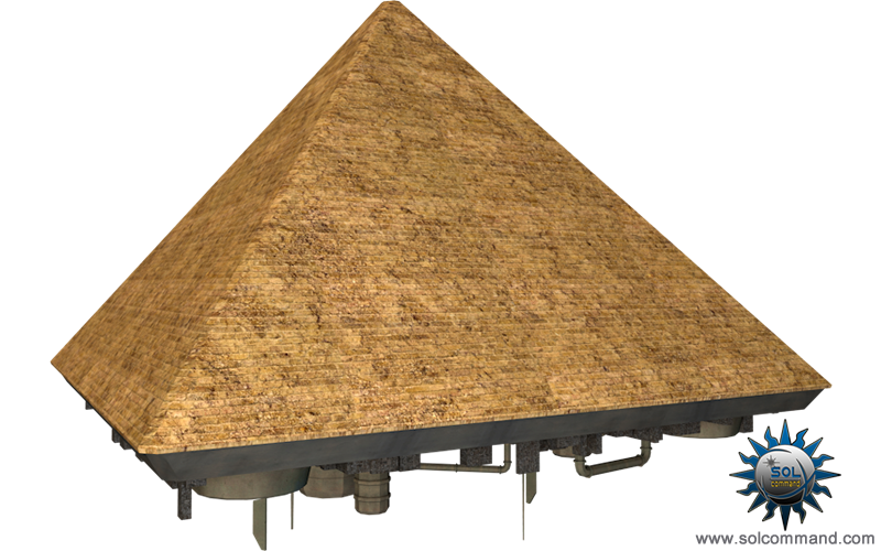 Giza pyramid spaceship space ship ancient design spacecraft building starbase motherbase derelict flying 3d mode lfree download textured uv unwrapped solcommand