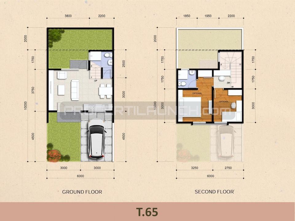 Denah Rumah Cluster Kireina BSD City Tipe 65