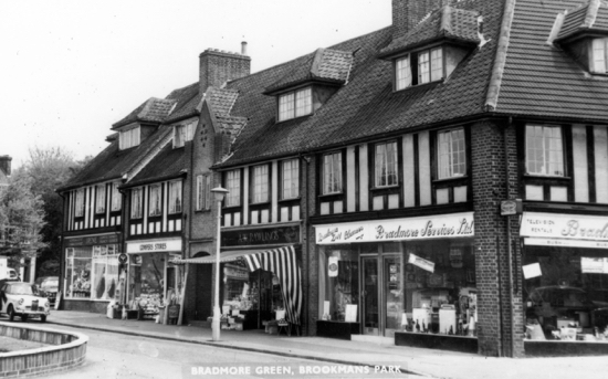 Photograph of a postcard of shops around Bradmore Green, Brookmans Park - Image from R. Kingdon