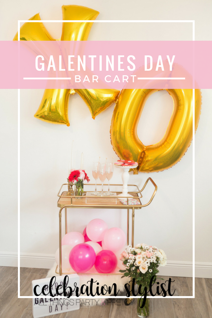 Galentines Day Bar Cart by popular party blogger Celebration Stylist