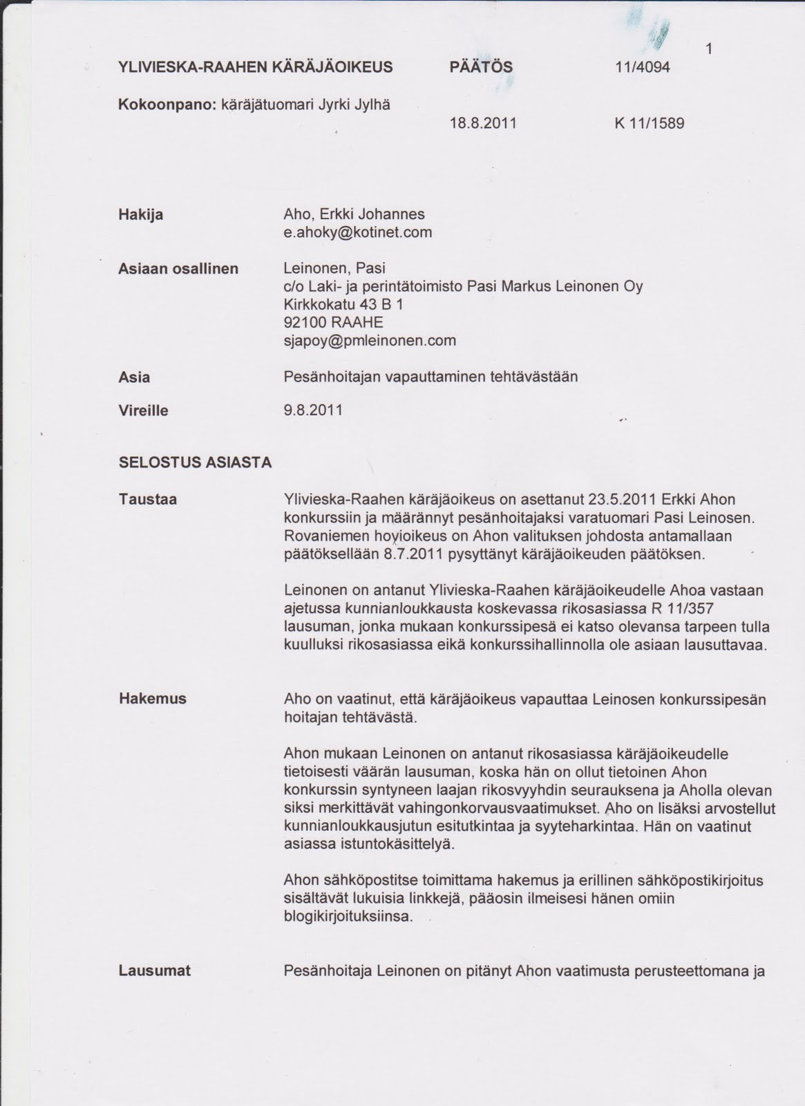 Valituskirjelmä Malli
