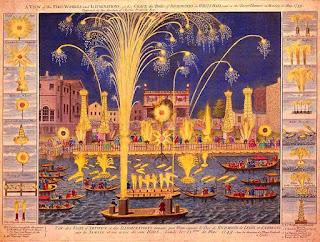 Imagen: Una vista de los fuegos artificiales para el Duque de Richmond en Whitehall y en el río Támesis el lunes 15 de mayo de 1749.