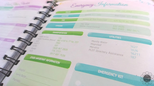 2016 Belle De Jour Power Planner: Emergency Information Page Picture (Review at http://www.TheGracefulMist.com/)