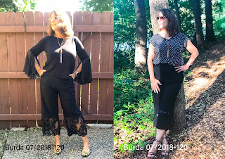 BurdaStyle Pants 07/2018 #120 with Sheer Bands and Ribbon Trim on Sharon Sews Blog