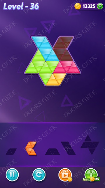 Block! Triangle Puzzle 5 Mania Level 36 Solution, Cheats, Walkthrough for Android, iPhone, iPad and iPod