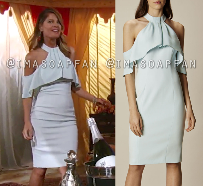 Nina Reeves, Michelle Stafford, Pale Green Draped Cold Shoulder Dress, General Hospital, GH